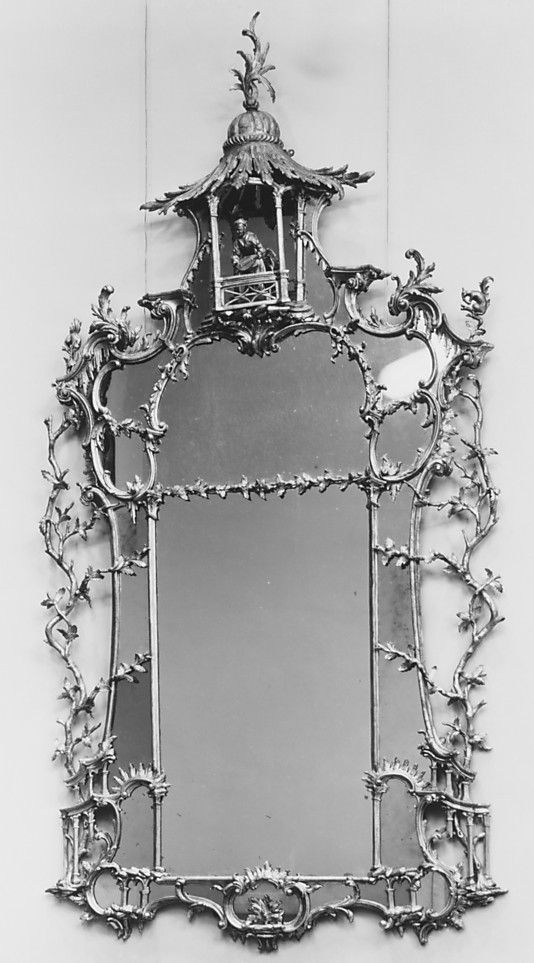 Pair of Rococo chinoiserie  pier glass mirrors ca. 1760