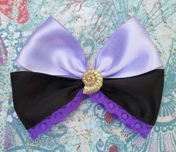 Ursula inspired hair bow The little mermaid hair clip Ursula Disney hair bow villain purple kawaii on Etsy, $7.00