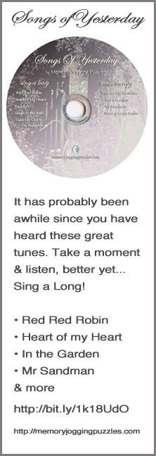 Songs of Yesterday CD used for Care Centers & In-Home. Sing a Long & Music Therapy for #Alzheimer's, #Dementia, #Elderly, #Seniors with Dementia and YOU! Listen & Enjoy!