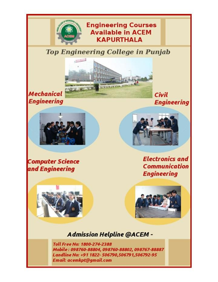 Get admission in best Engineering College of Punjab. ACEM(http://www.acem.org.in) is the most reputed, prestigious College for Engineering(B.tech, Diploma) in Civil, ME, ECE, CSE.