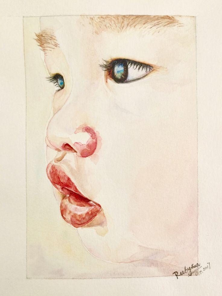 Watercolor Baby Portrait / Mon Bébé