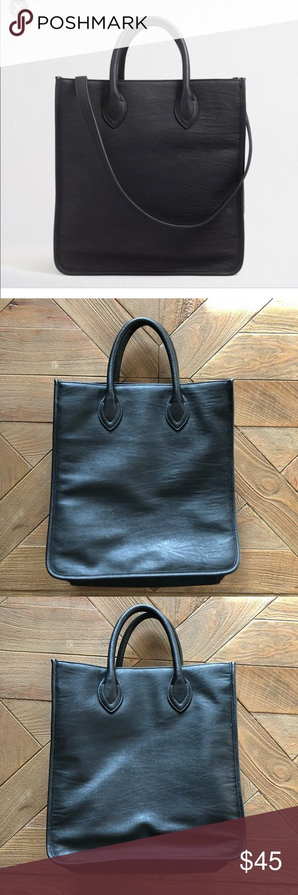 """J Crew Factory Black Leather tote J Crew Factory Black Leather tote, two handles and a crossbody strap. Great work bag! Only used a couple times. Great condition.   PRODUCT DETAILS 12 1/2""""H x 13""""W x 5 1/2""""D. 9"""" handle drop. Import. J. Crew Factory Bags Totes"""