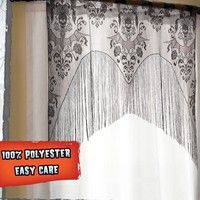 Gothic Black Lace SKULL BAT CURTAIN VALANCE TOPPER SHAWL Halloween Haunted House  Package included