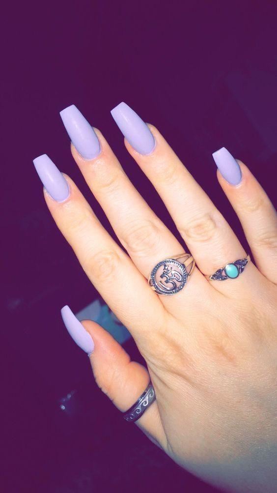 Coffin nails, purple nails