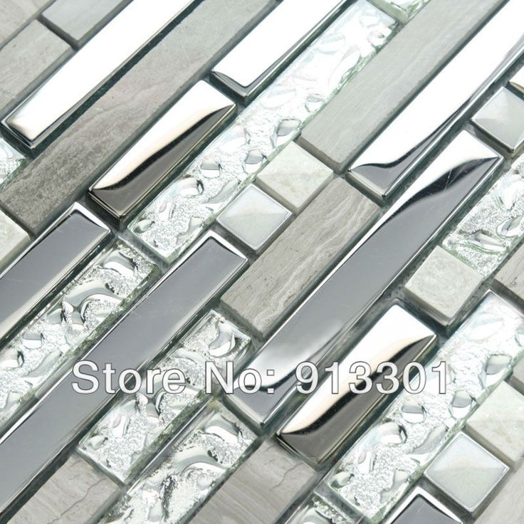 Interlocking Mosaic Tiles Stone Stainless Steel & Glass Blend Kitchen Backsplash Tile Crystal Coating Marble Tile Wall Stackers SHHMT012-1
