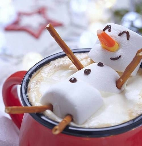 Floating Snowman on Hot Chocolate