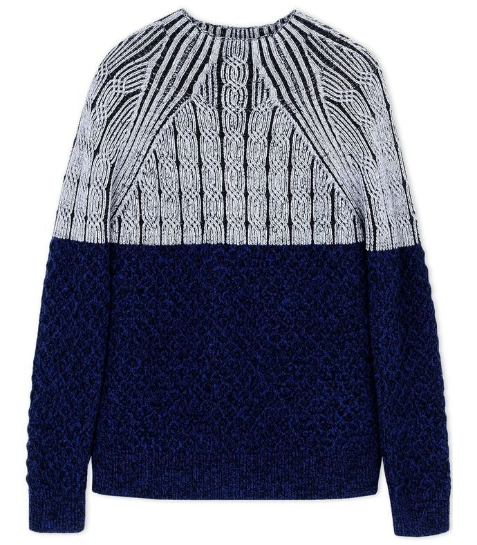 Navy Color-Block Wool Turtleneck Sweater