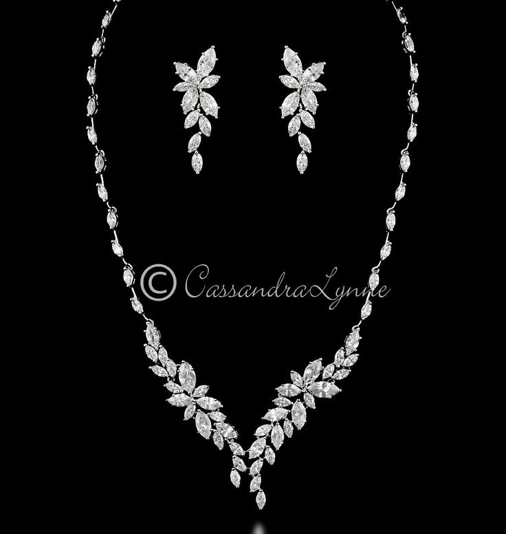 Intricate CZ Leaf Bridal Necklace Set