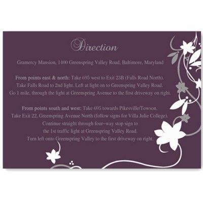 plum wedding direction cards