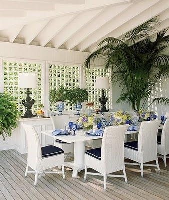 Lovely patio in blue and white