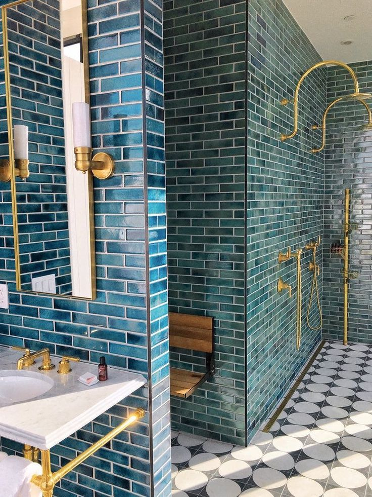 Walls and shower complete bathroom tiled style metro luster blue color faded