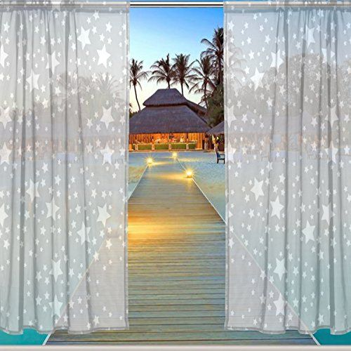 ALAZA Window Sheer Curtain Panels,Christmas Decoration Gray Sparkling Brightly Bling Star,Door Window Gauze Curtains Living Room Bedroom Kid Office Window Curtain 55x84inch Two Panels Set