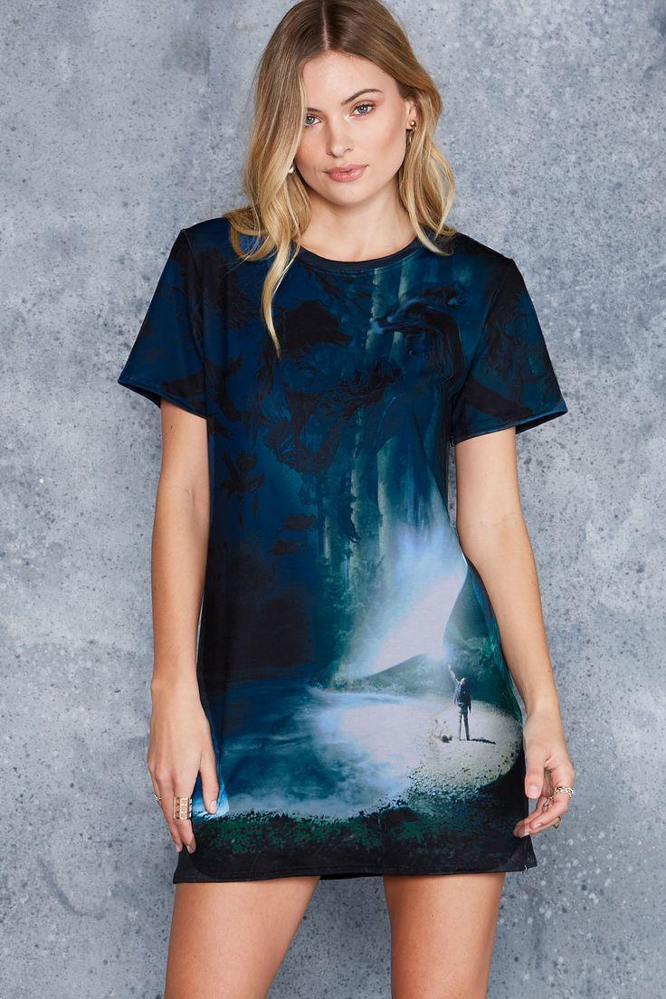 Expecto Patronum Tee Dress ($90AUD) by BlackMilk Clothing