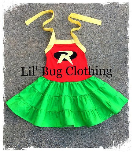 Custom Boutique Clothing Superhero Robin Tiered by LilBugsClothing