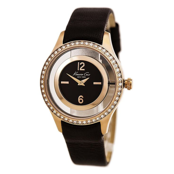 Kenneth Cole 10026950 Women's Brown Transparent Dial Brown Leather Strap Crystal Watch