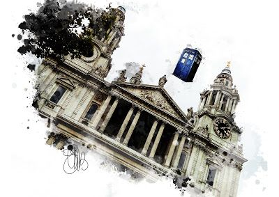 "FASHION CREATIONS by  ELIBET6.: Wall Art "" Police Box under Saint Paul Cathedral""...."