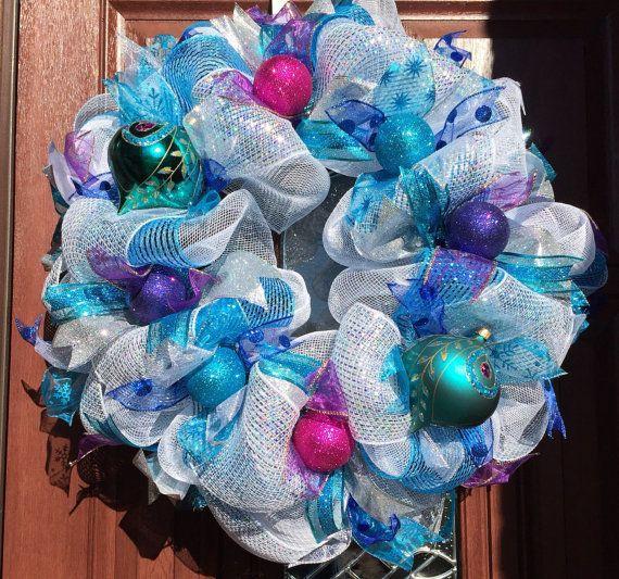 Christmas Wreath, Blue christmas Peacock Deco, winter wreath, Frozen wreath - CLEARANCE ...