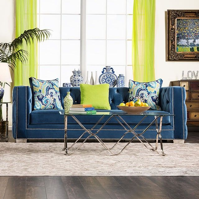 SKU sm2280 Tradition, Victorian inspired sofa and loveseat, square arms, bench seat cushion, button back and arms, acrylic buttons, velvet upholstery, nailheads, includes accent pillows, block feet. turquoise.