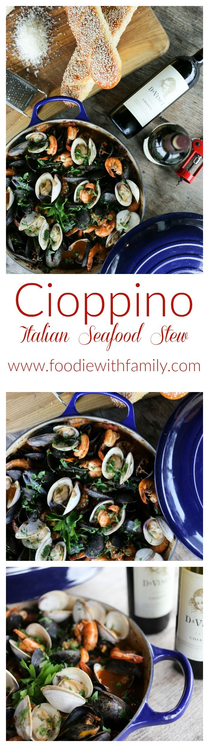 It had humble beginnings as a fisherman's stew, but this gorgeous Cioppino or Italian Seafood Stew is now a showstopper of a main dish. Serve on its own or as part of your Feast of the Seven Fishes. #sponsored