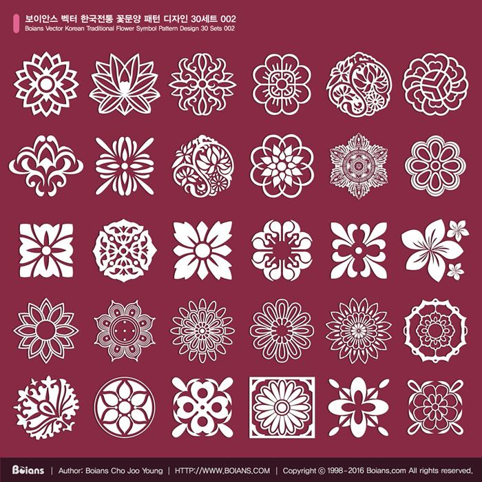 1. Name: Boians Vector Korean Traditional Flower Symbol Pattern Design 30 Sets 002 2. Format: AI 9.0 / RGB Color, Vector 3. License: Standard License, Extended License 4. Price (USD): Standard License, $20, Extended License $60 5. Delivery: Download After Payment 6. South Korea won payment: Caf