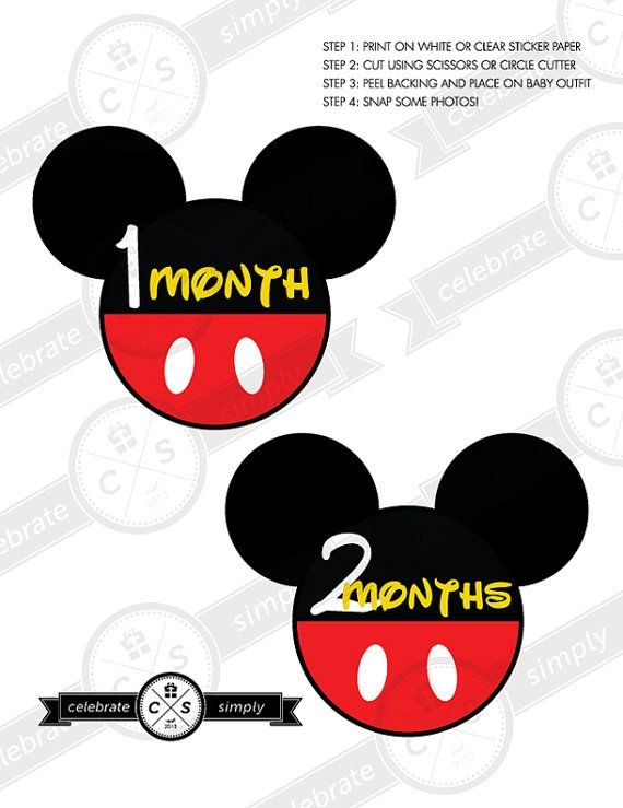 Mickey Mouse Monthly Baby Milestone Stickers - INSTANT DOWNLOAD on Etsy, $5.00