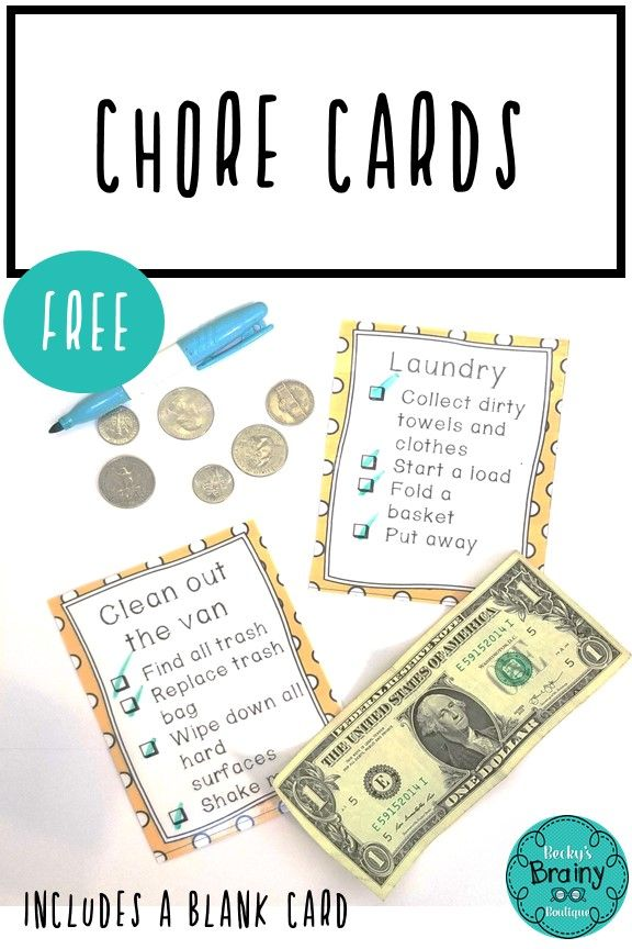 Freebie Chore Cards With Images Chore Cards Chores For Kids