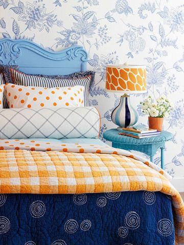polka dots: Decor, Orange, Colors Combos, Idea, Pattern, Headboards, Blue Bedrooms, Colors Schemes, Guest Rooms