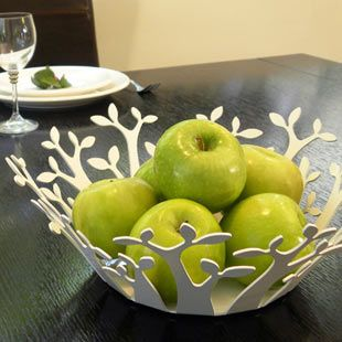 Fruit basket - BAOBAB - Decorative fruit basket for the kitchen or dining area  Manufactured in laser cut metal and powder coated  Distanced from surfaces by silicone drops  Also available in this series a napkin holder and   kitchen paper holder. $69.99