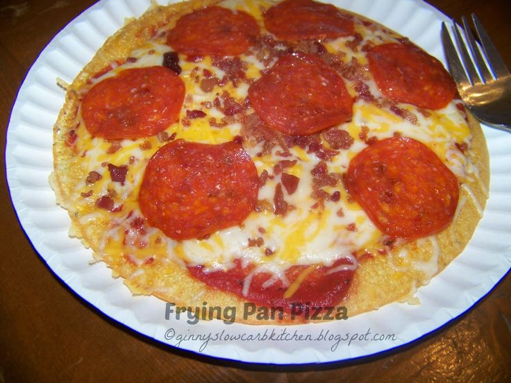 Ginny's Low Carb Kitchen: Frying Pan Pizza - Essentially pizza in a jiffy! ~ Visit us for more wonderful recipes at: https://www.facebook.com/LowCarbingAmongFriends