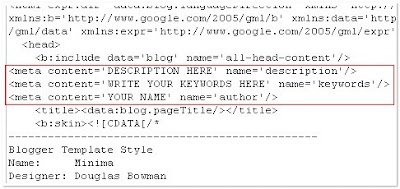 adding metatags to blogs/websites...