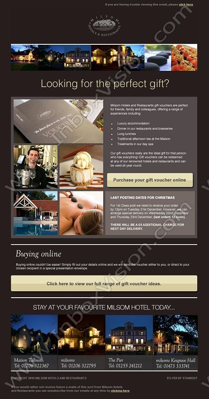 Company:    Milsom Hotels and Restaurants   Subject:    Milsom Hotels Last Posting Dates for Christmas             INBOXVISION is a global database and email gallery of 1.5 million B2C and B2B promotional emails and newsletter templates, providing email design ideas and email marketing intelligence http://www.inboxvision.com/blog