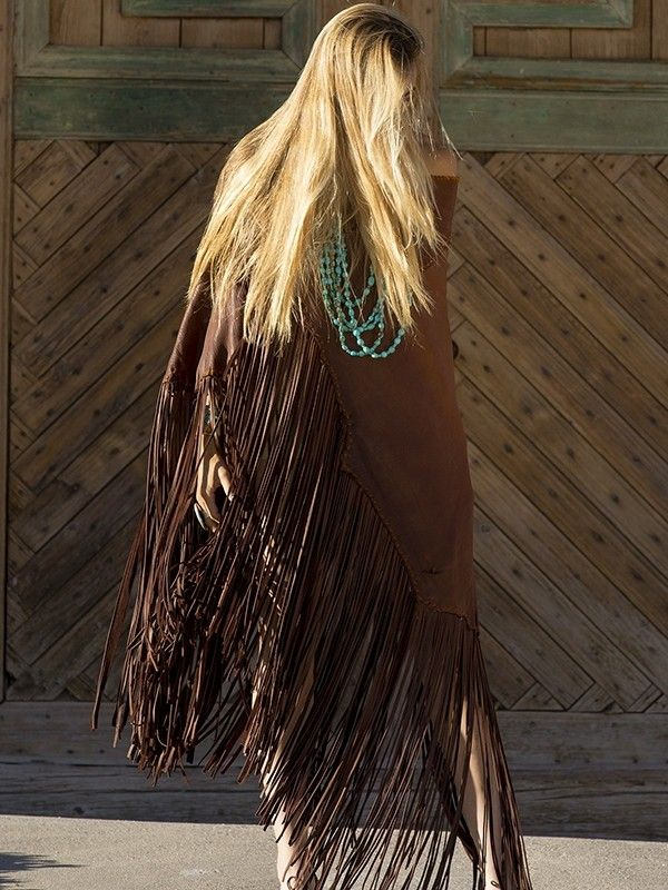 ~ Alternate front view of Brit West's newest offering: her gorgeous leather Rio Grande fringe cape.  Off the charts, I L=O=V=E it! ~