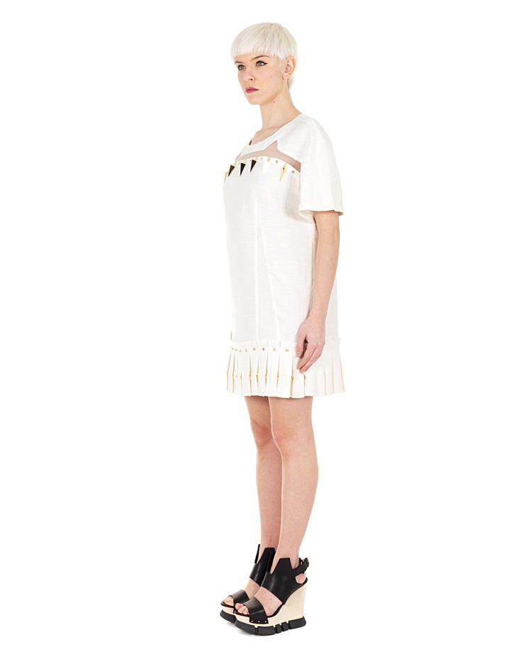 YOHANIX White short dress crew-neck short sleeves with silk inserts metal decorations plissé skirt 54% PL 23% RY 23% Ac  100% SE Lining:100% PL