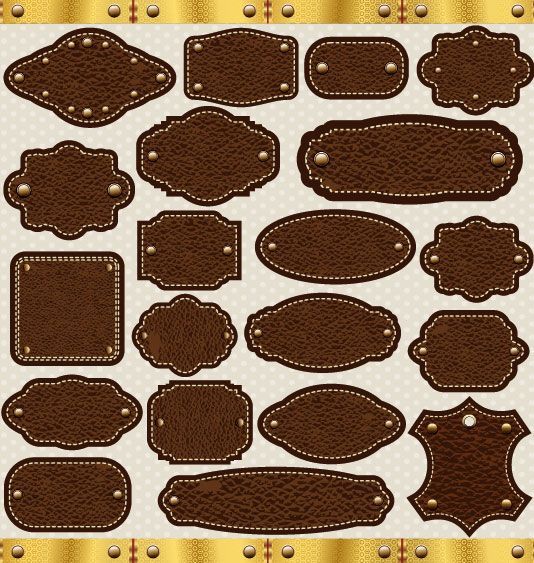Different leather lables and tags mix vector 01 - Vector Label free download