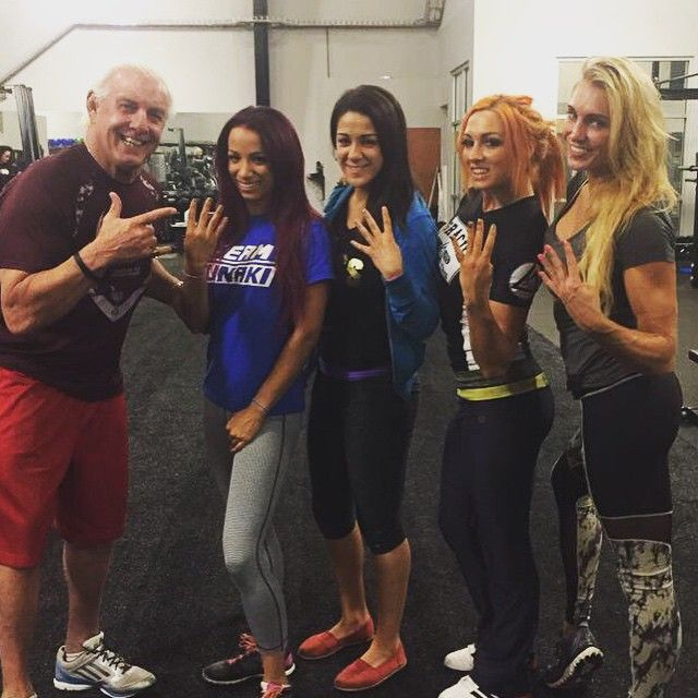 'The Four Horsewomen' of NXT: Sasha Banks, Charlotte, Bayley and Becky Lynch...and Ric Flair