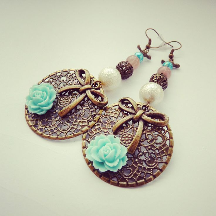 handmade earring with mint flowers, rose, bow, white, oldpink , birds BY SHARYS