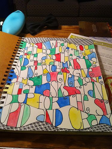Cool sketch book idea...Contouring letters with watercolor paint and zentangles on the border...