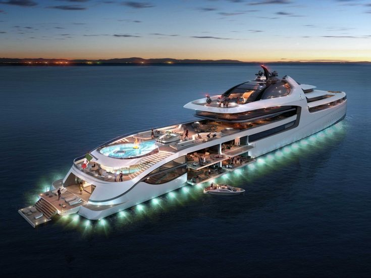 When the sun falls, a 360-degree ring of lights illuminates the yacht's perimeter.