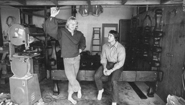 Dave Draper and Arnold Schwarzenegger in Dave's woodshop ...