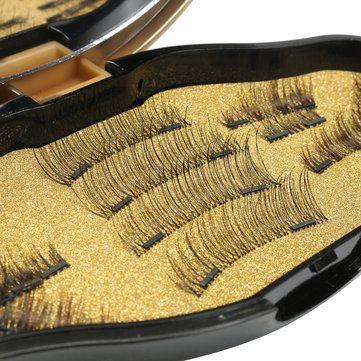 Magnetic 3D False Eyelashes Makeup Reusable Long Natural Eyelashes Extension With Mirror