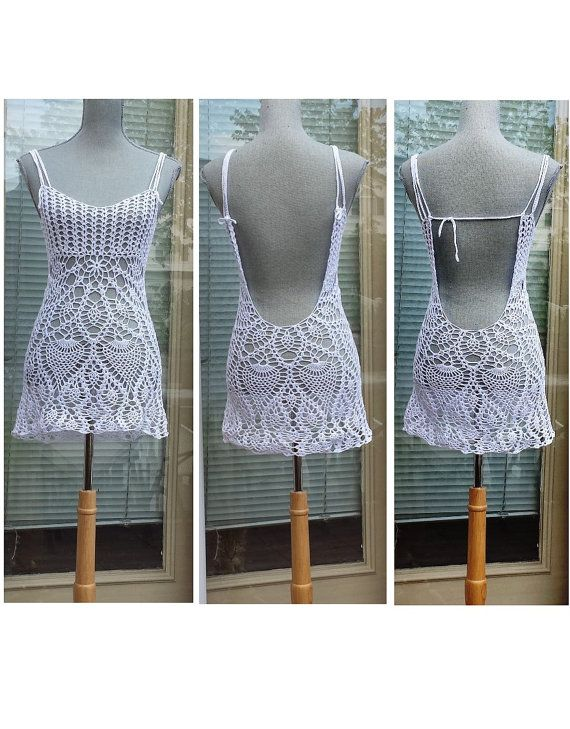 Open Back Mini Dress / Lace Layer Cover Up / beach or party Made to Order
