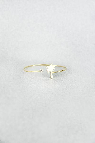 PALM TREE BANGLE GOLD-WHITE