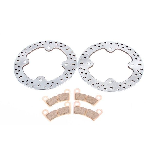 2011-2014 Polaris RZR 800 EFI Front Brake Rotors Disc and Severe Duty Brake Pads, Silver stainless steel