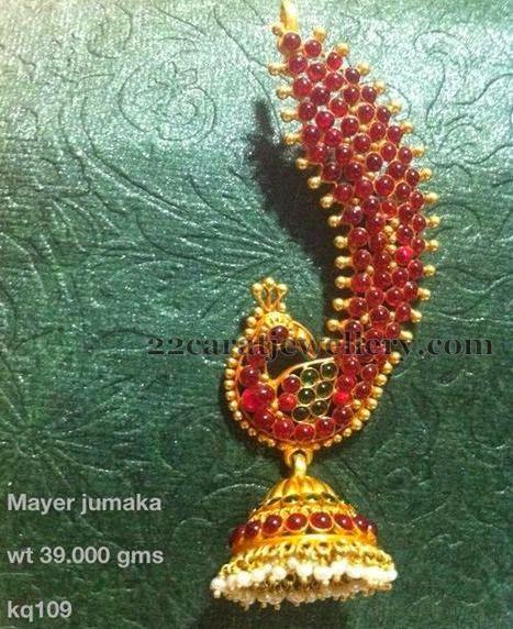 Jewellery Designs: Cabochon Rubies Peacock Jhumka