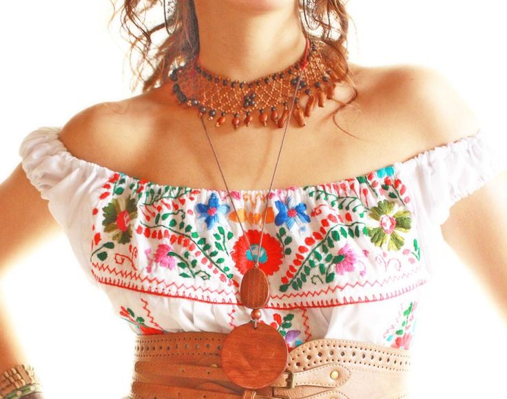 Nubes Mexican embroidered dress bohemian off shoulder