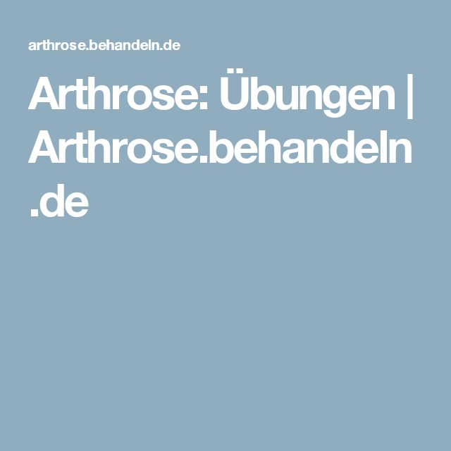 Arthrose: Übungen | Arthrose.behandeln.de