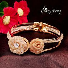 Free shipping Fashion Women's/Girl's 18k Yellow Gold Filled Austrian Crystal Rose Wrist Cuff Bangles & Bracelets Jewellery