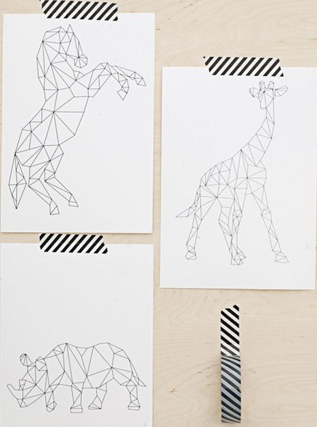 Animals - this would be cute to do string art like this for a kid's room: