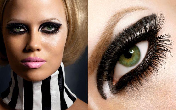 Black and white 60's make up.: Makeup Guard, Eye Makeup, Cat Eyes, 60S Makeup, Makeup Makeup Makeup, Eye Flyy, Beautiful Eye, Fabulous Makeup, Halloween Cat