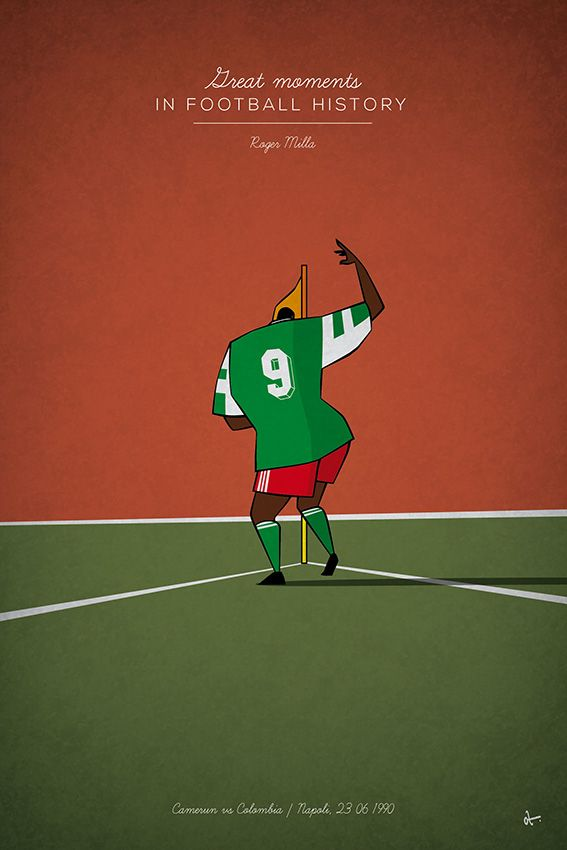 ROGER MILLA, 1990 - Football fan and designer Osvaldo 'Oz' Casanova has recently created a uniquely designed football history illustration series covering some the most famous, and sometimes infamous, moments in world football from the last 50 or so years.